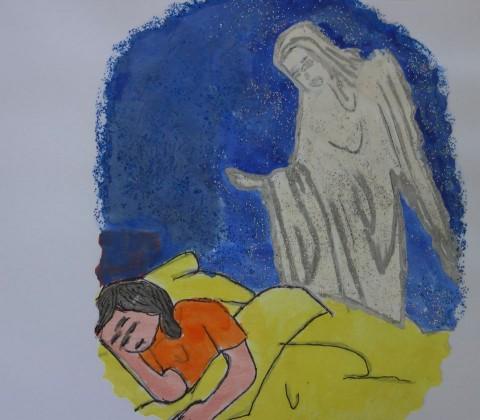 """Prelep crtež devojčice, kao """"naslovnica"""" pisma za """"Make a WISH"""""""