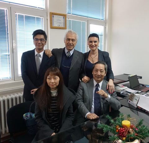 On the top right, the Director of the Center in Sremcica, Ms. Aleksandra Trifkovic, with the Taiwan Representative in Hungary, H.E. Ambassador Wen-lung Tao, below right, and, on behalf of the Order, top center, the Ambassador Alberto di Luca with two collaborators of Amb.Tao