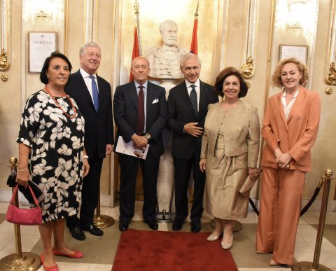H.R.H Prince Aleksandar Karadjordjevic and Princess Katarina welcomed by Ambassador Alberto di Luca with his wife Emanuela and Minister Counsellor Carlo Buora with his wife Daniela