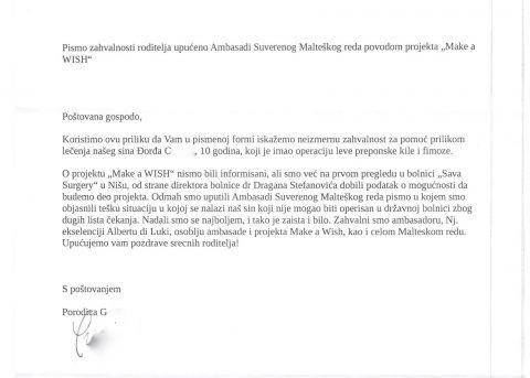 """Proseguono gli interventi chirurgici del """"Make a WISH"""".  Una bella lettera di ringraziamento!"""
