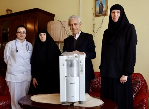 "Mother Superior Glikerija ( on the left side) received and thanked Ambassador Alberto di Luca for the ""WISH"" delivered today"