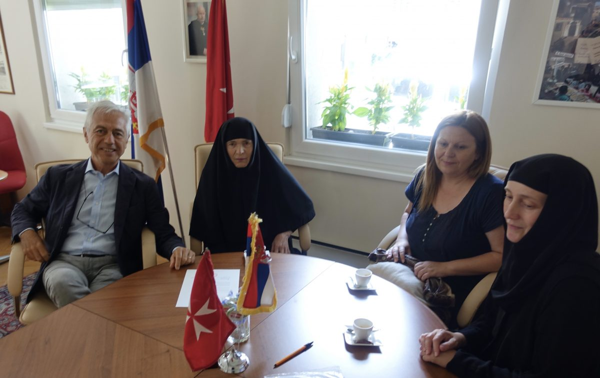 In the Embassy, delivery formalities of the WISH. With Ambassador di Luca, Mother Superior Glikerija, Director of the Centre St.Petka Slađana Tasić and Sister Vasilisa.