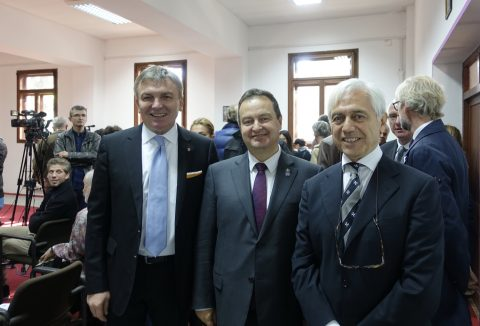 "Minister of the Foreign Affairs Mr. Ivica Dacic with Ambassador Alberto di Luca and Director of the ""Make a WISH"" Project, prof. Nenad Prokic."